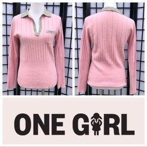 100% Cashmere One Girl Pink Gray Ribbed Sweater